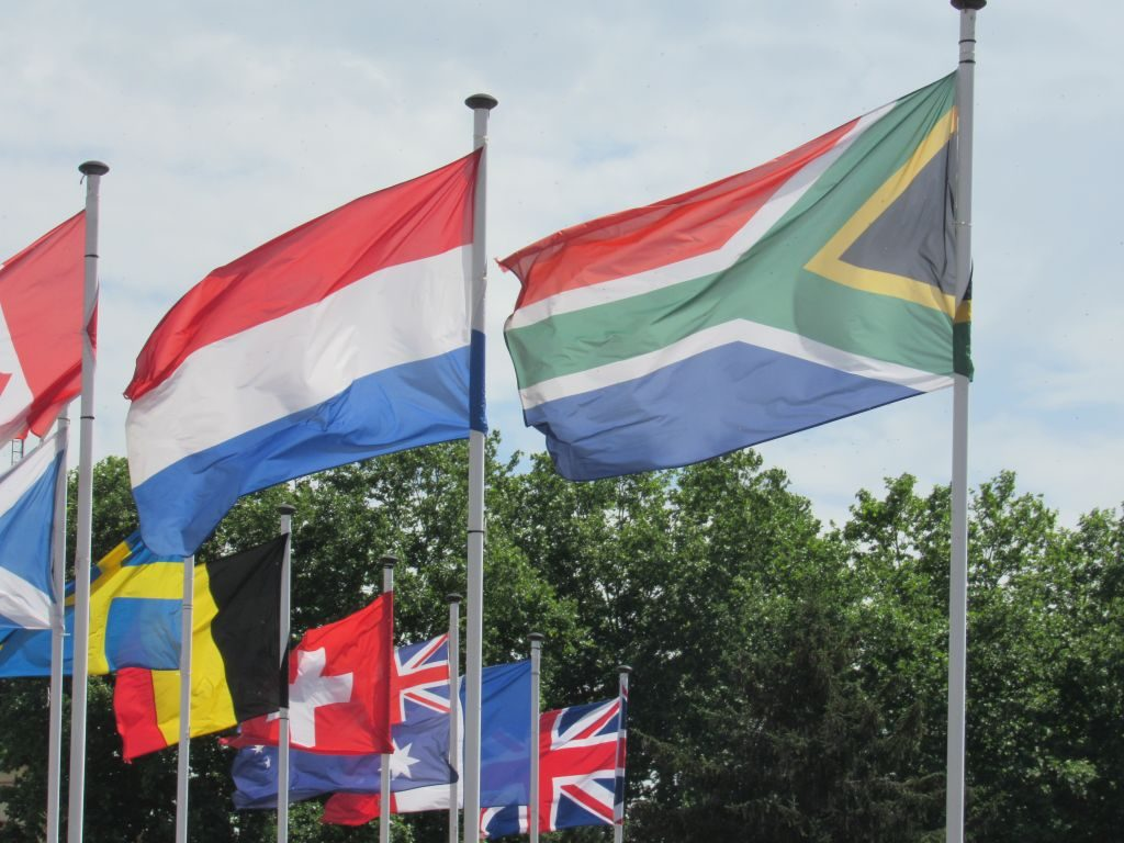 National flags at Roanne marina