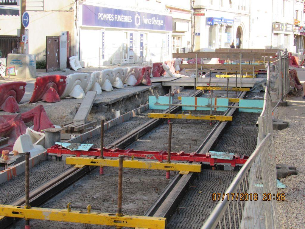 Avignon new tram track work