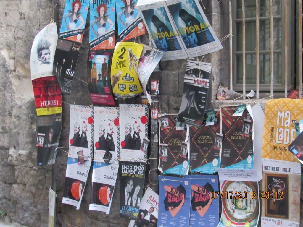 Avignon - Theatre festival posters abound