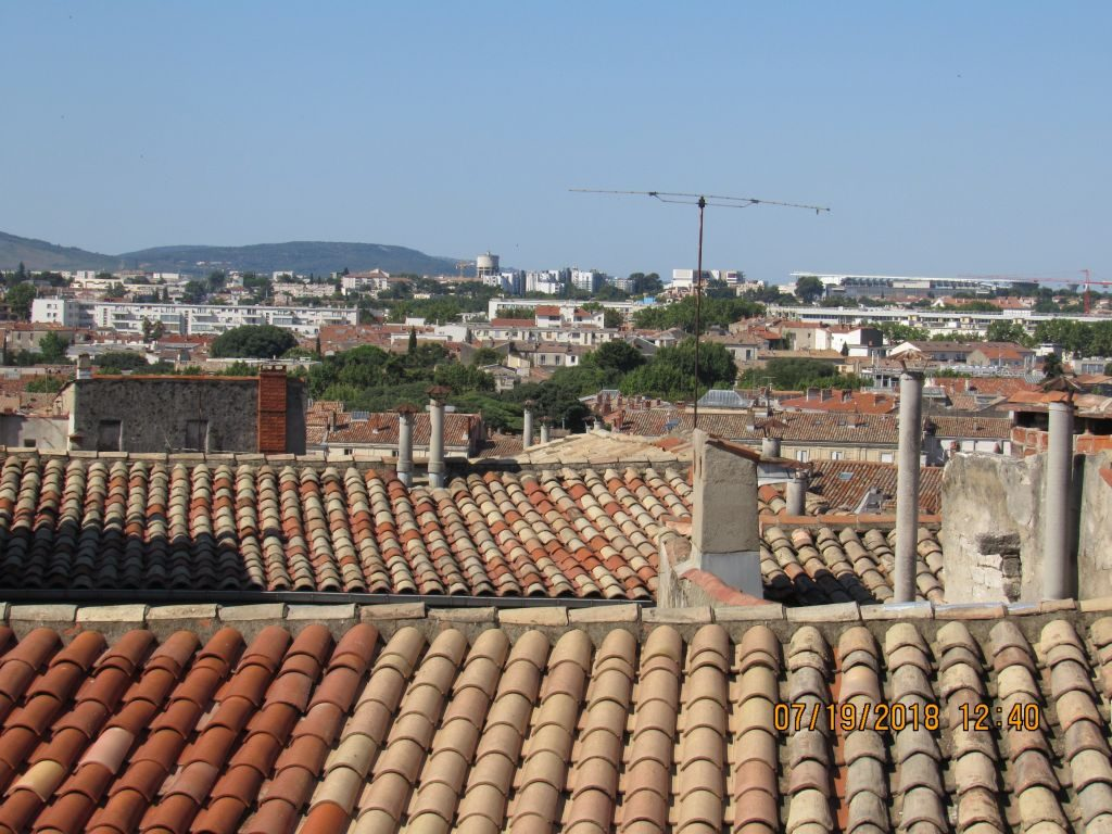 Montpellier - view over rooftops from our lodgings